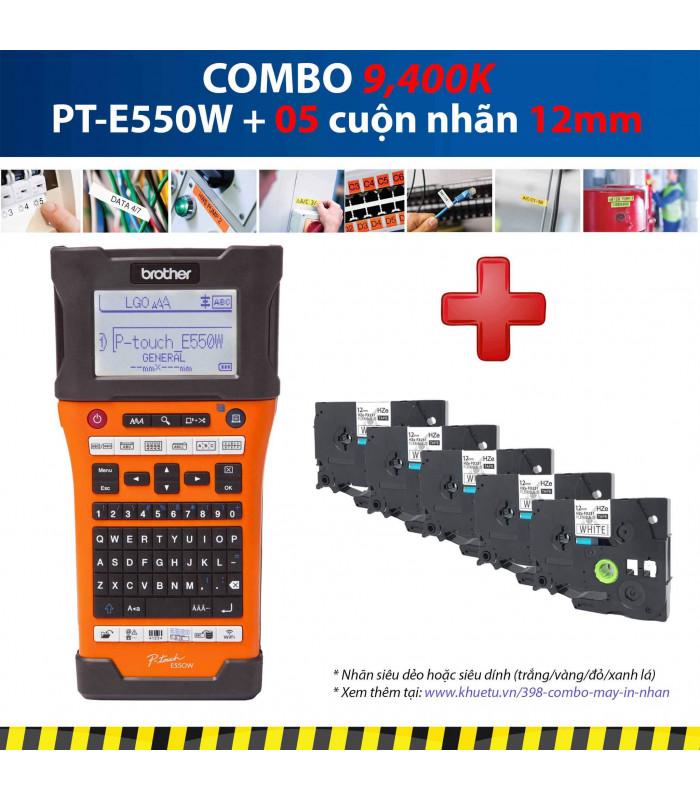 Combo: PT-E550W + 5 Cuộn nhãn 12mm | Máy in nhãn Brother | khuetu.vn
