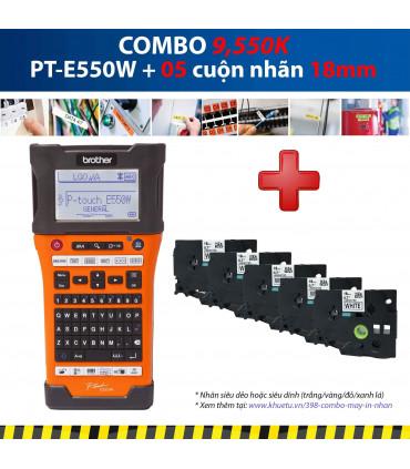 Combo: PT-E550W + 5 Cuộn nhãn 18mm