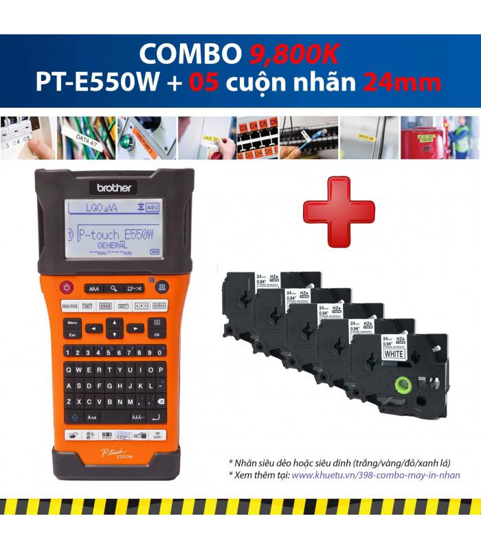 Combo: PT-E550W + 5 Cuộn nhãn 24mm   Máy in nhãn Brother   khuetu.vn