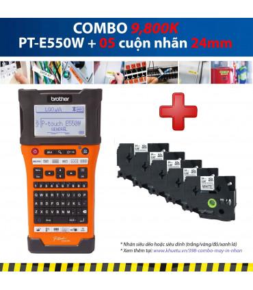 Combo: PT-E550W + 5 Cuộn nhãn 24mm