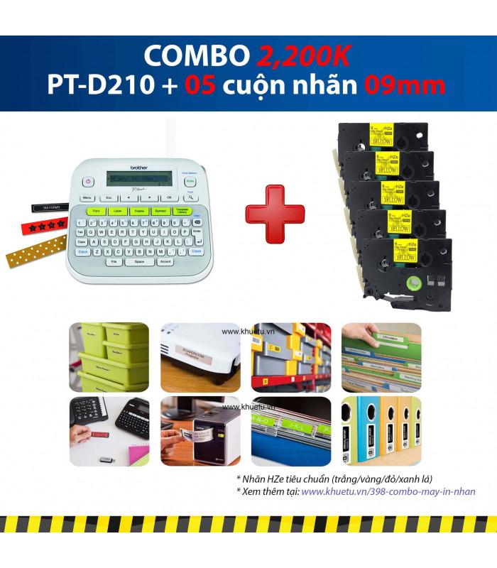Combo: PT-D210 + 5 Cuộn nhãn 09mm | Máy in nhãn Brother | khuetu.vn