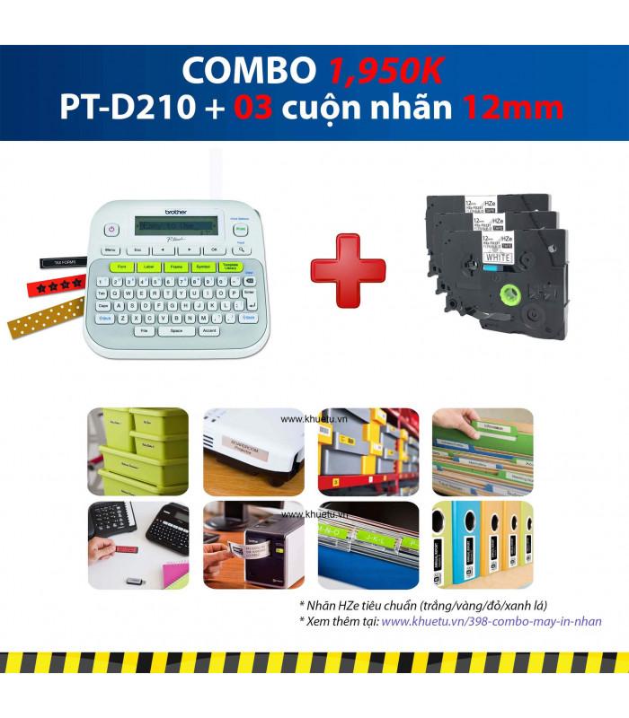 Combo: PT-D210 + 3 Cuộn nhãn 12mm | Máy in nhãn Brother | khuetu.vn