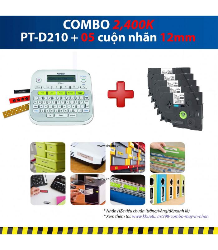 Combo: PT-D210 + 5 Cuộn nhãn 12mm | Máy in nhãn Brother | khuetu.vn
