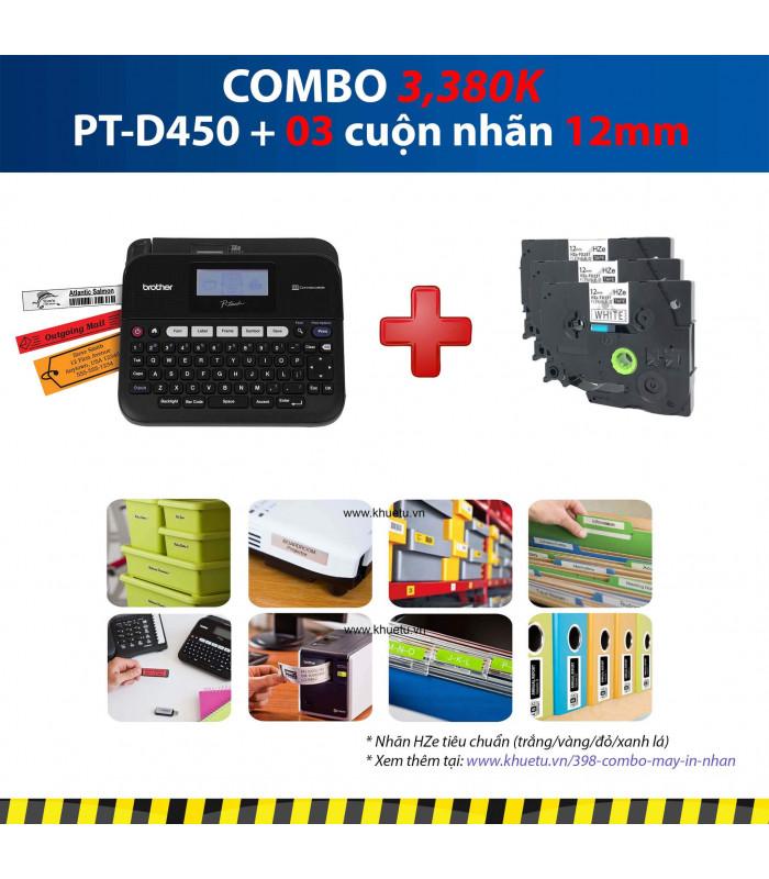 Combo: PT-D450 + 3 Cuộn nhãn 12mm | Máy in nhãn Brother | khuetu.vn