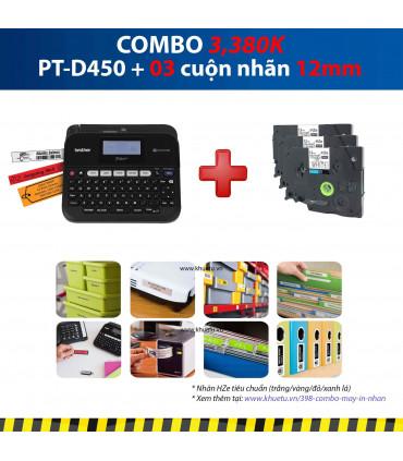 Combo: PT-D450 + 3 Cuộn nhãn 12mm