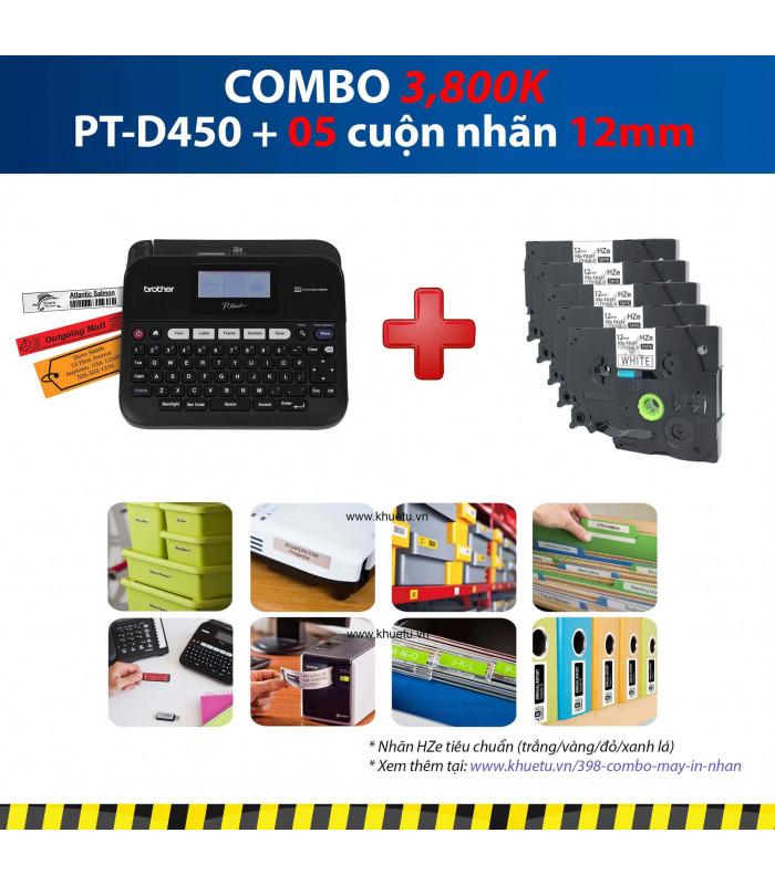 Combo: PT-D450 + 5 Cuộn nhãn 12mm | Máy in nhãn Brother | khuetu.vn