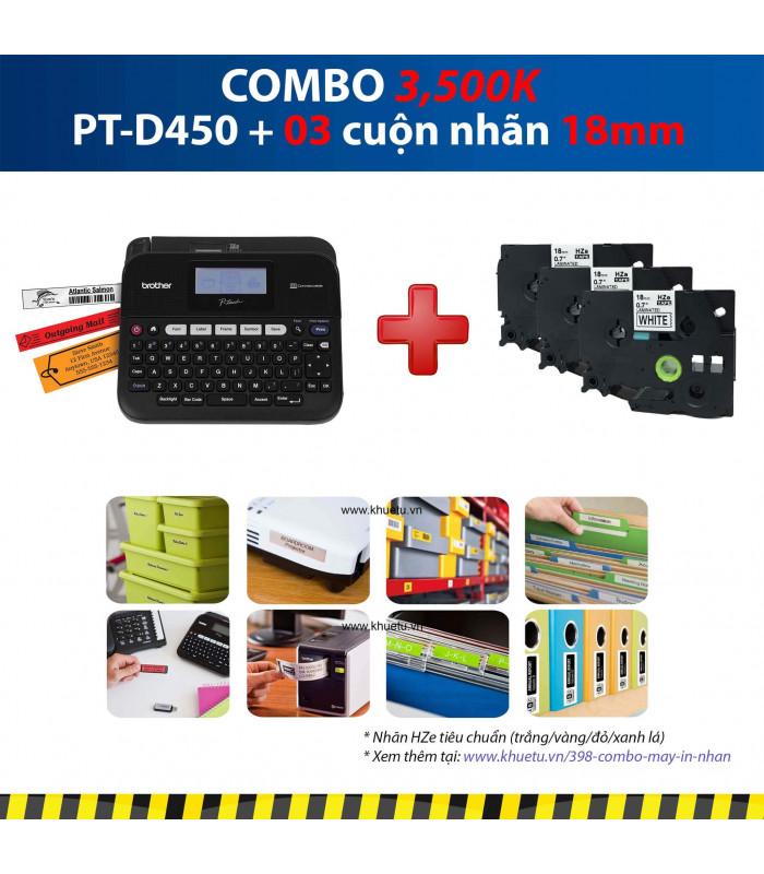 Combo: PT-D450 + 3 Cuộn nhãn 18mm | Máy in nhãn Brother | khuetu.vn