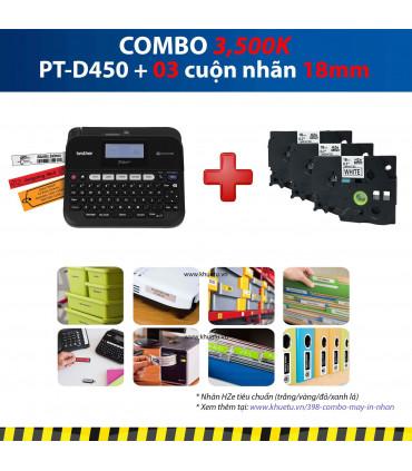 Combo: PT-D450 + 3 Cuộn nhãn 18mm