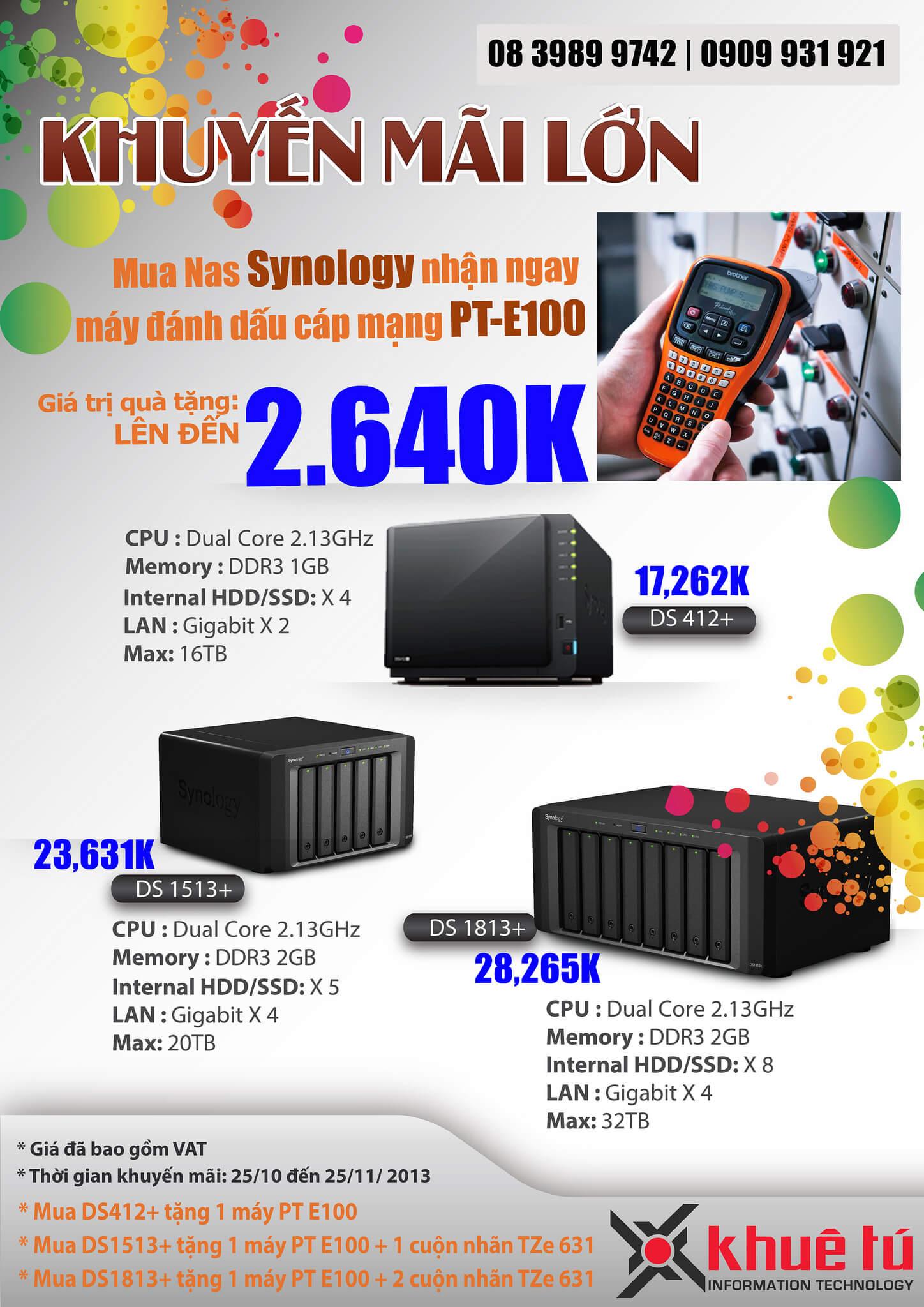 Khuyến Mãi: Mua NAS Synology tặng Máy đánh dấu cáp mạng Brother PT-E100