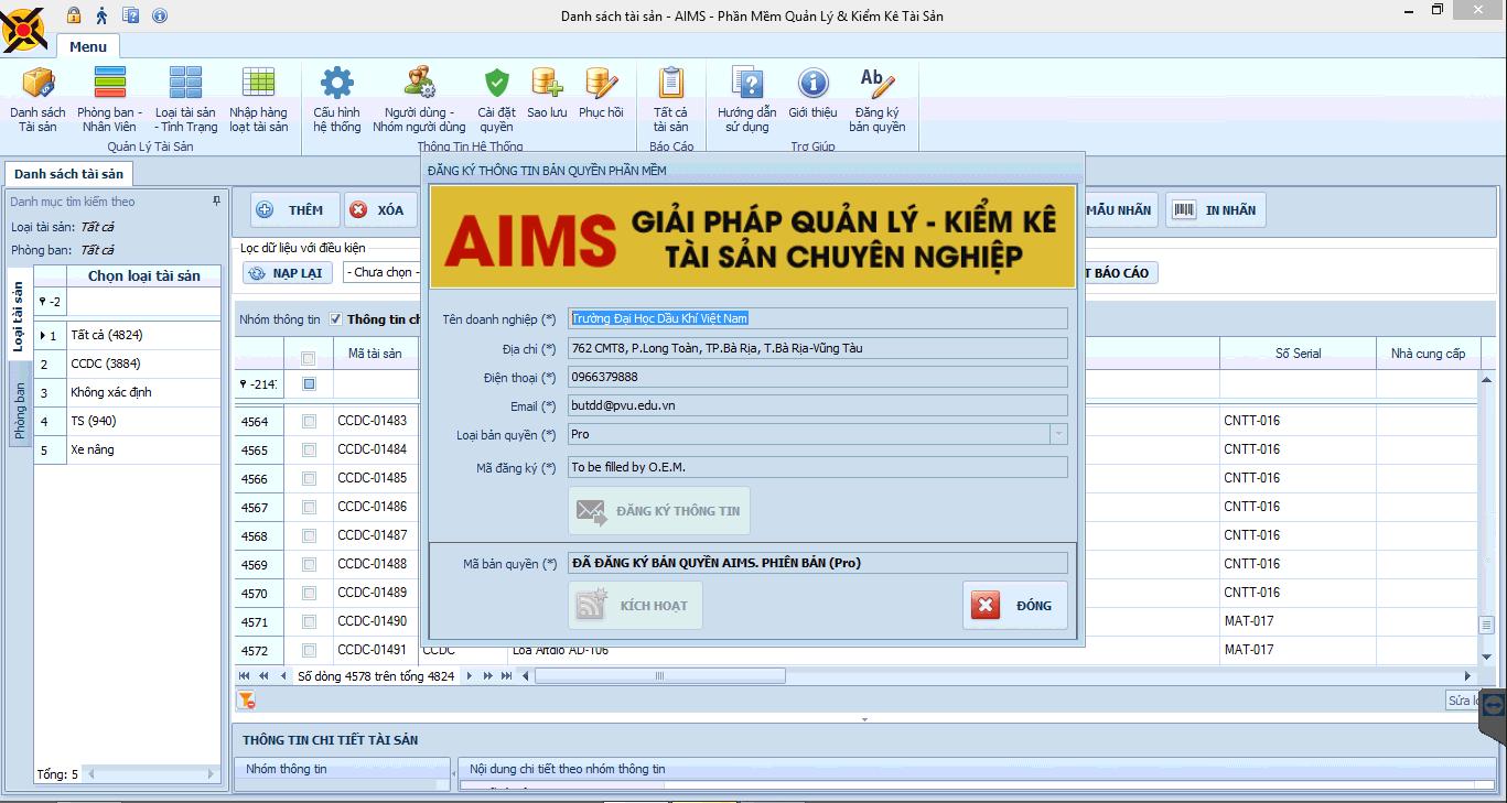 AIMS Giải pháp quản lý và kiểm kê tài sản thông minh