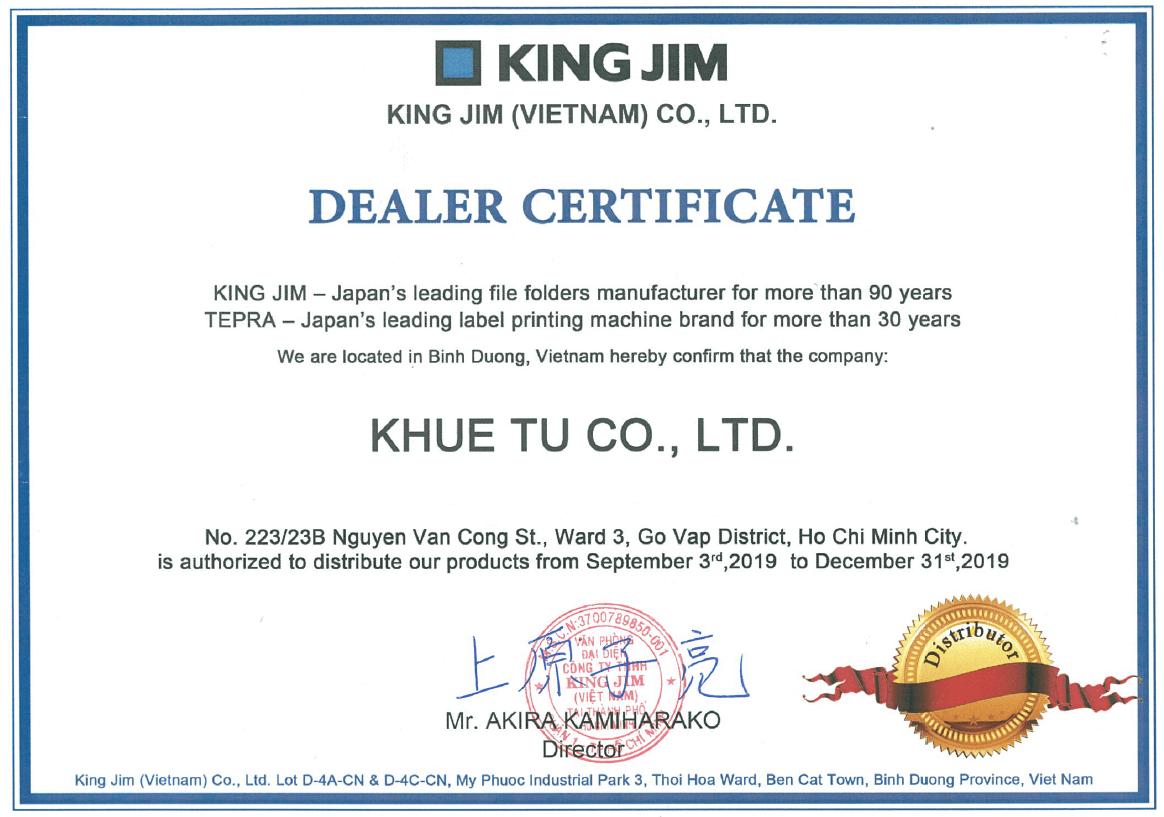 KHUÊ TÚ phân phối máy in nhãn Tepra King Jim