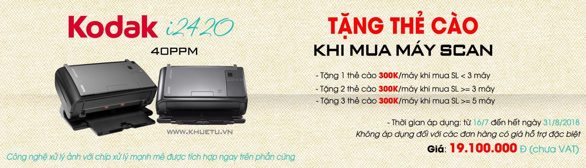 Kodak - Khuyến mãi tặng thẻ cào 300K khi mua máy scan Kodak i2420 tại Khuê Tú