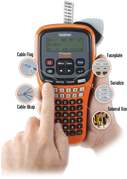 PT-E100 easy-to-use labelor for cable flagging, cable wrapping, faceplate labeling, serialized labels and many more general labeling uses.
